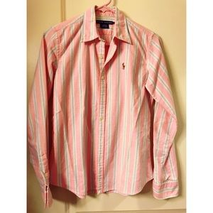 Ralph Lauren light pink striped slim fit polo.